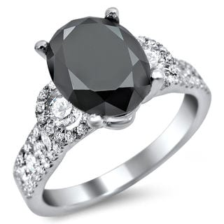 18k White Gold 2 3/4ct Oval Black and White Diamond Engagement Ring (G-H, SI1-SI2)