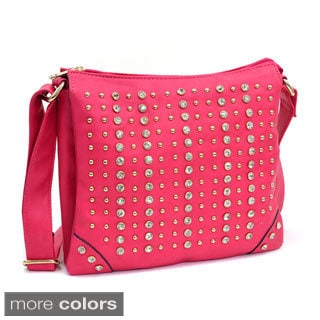 Rhinestone Studded Messenger Bag