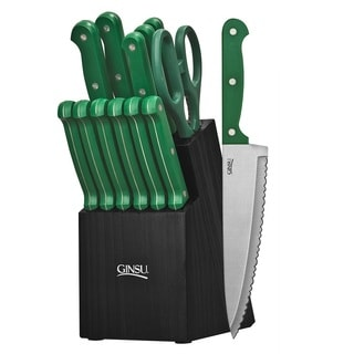 Ginsu Essentials Series 14-piece Green/ Black Cutlery Set