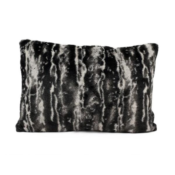 Mina Victory Black/ Silver Faux Fur 12x18 Throw Pillow