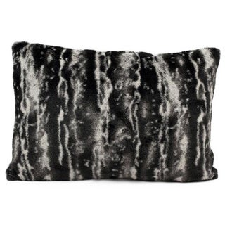 Mina Victory Black/ Silver Faux Fur 12x18 Throw Pillow