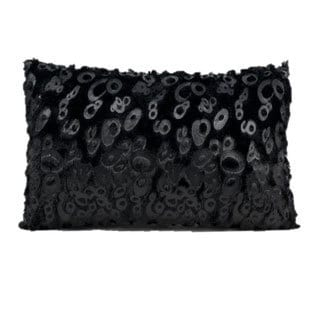 Mina Victory by Nourison Faux Fur Black 12 x 18-inch Throw Pillow