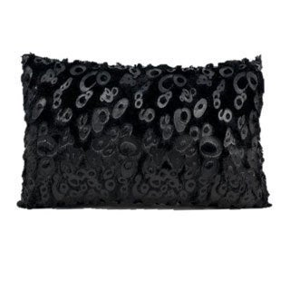 Mina Victory Black Faux Fur 12 x 18 Throw Pillow