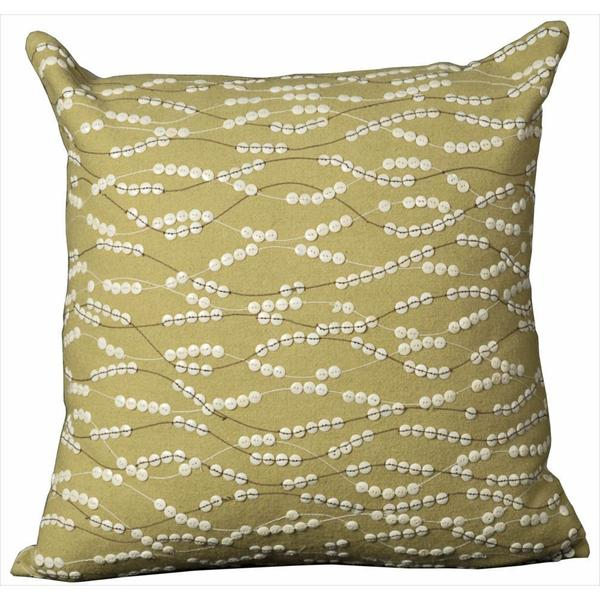 Mina Victory Green Buttons Throw Pillow