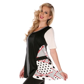 Women's Black/ White Multi-patchwork Sleeveless Top