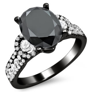 18k Black Gold 2 3/4ct Oval Black and White Diamond Engagement Ring (G-H, SI1-SI2)