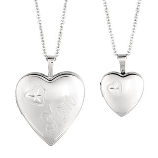Fine Silver Plated Mommy and Me Heart Locket Necklace with Bonus Children's Necklace