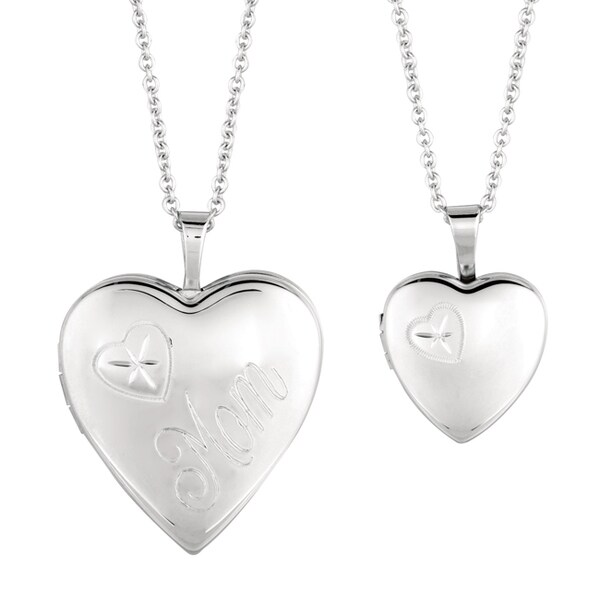 Fine Silver Plated Mommy And Me Heart Locket Necklace With Bonus Childrenaposs Necklace image