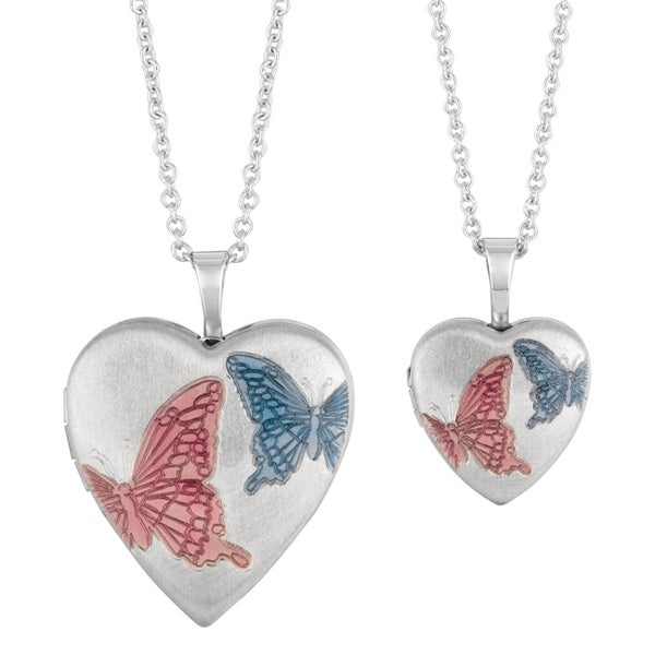 Fine Silver Plated Mommy And Me Enamel Butterfly Heart Locket Necklace With Bonus Childrenaposs Necklace image