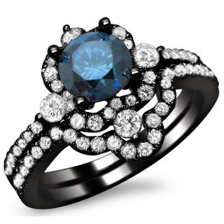 18k Black Gold 1 3/5ct TDW Blue and White Diamond Bridal Ring Set (SI1-SI2)