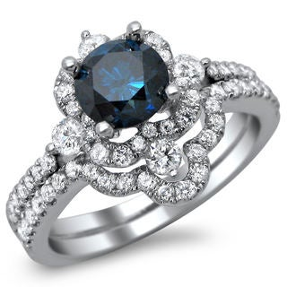 18k White Gold 1 3/5ct TDW Blue Diamond Bridal Ring Set (SI1-SI2)