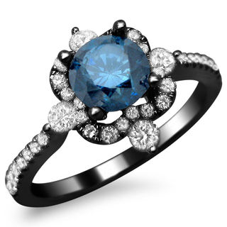 18k Black Gold 1 1/3ct TDW Blue Diamond Vintage Design Ring (SI1-SI2)