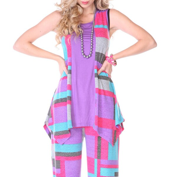Firmiana Women's Purple Geometric Print Sleeveless Scarf Top