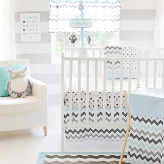 My Baby Sam Chevron Baby in Aqua 3-piece Crib Bedding Set