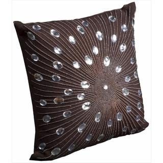 Mina Victory Luminescence 20-inch Brown Rhinestone Throw Pillow