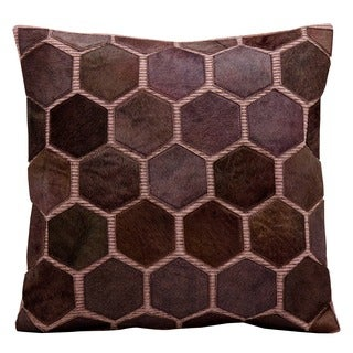 Nourison Mina Victory Purple Natural Leather and Hide Throw Pillow
