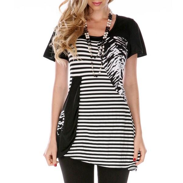 Firmiana Women's Black Striped Short Sleeve Tunic