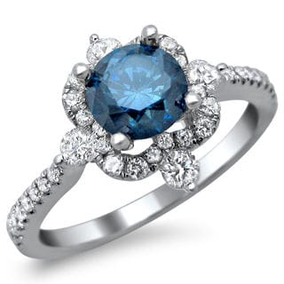 Noori 18k White Gold 1 1/3ct TDW Blue Round Diamond Vintage Style Ring (SI1-SI2)