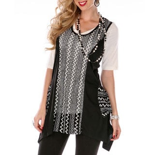 Women's Black/ White Sheer Panel Sleeveless Top