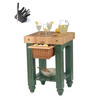 John Boos CU-GB25-B Green Basil Slide-out Cutting Board Gathering Block Table (25x24) and Henckels 13 Piece Knife Block Set