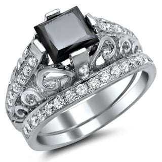 14k White Gold 2 1/10ct TDW Black Swirl Design Diamond Bridal Ring Set (VS1-VS2)