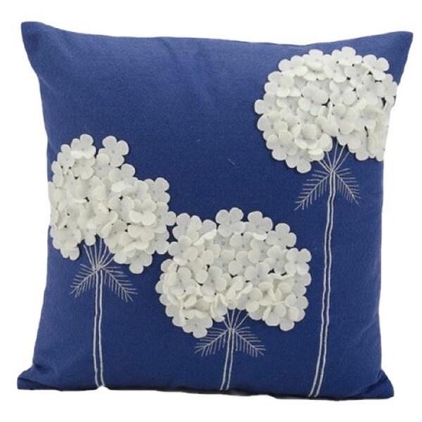 Nourison Mina Victory 18 Inch Blue Felt Throw Pillow