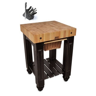 John Boos CU-GB25-BL Black Slide-out Cutting Board 25 x 24 Gathering Block Table and Henckels 13-piece Knife Block Set