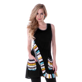 Women's Black Contrast-wrap Sleeveless Top