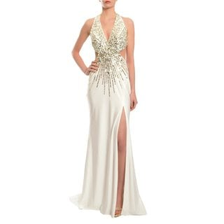 Mac Duggal Women's Ivory Starburst Beaded Halter Gown