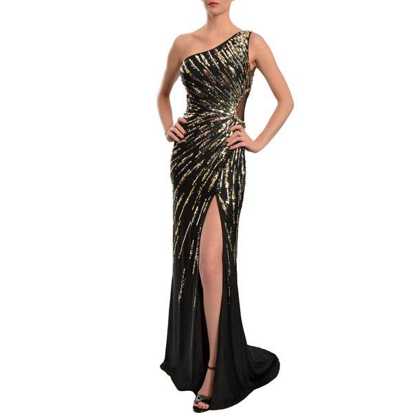 Mac Duggal Women's Black One-shoulder Starburst Sequined Gown