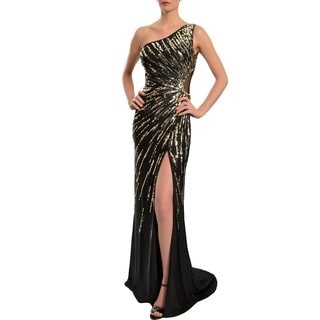 Mac Duggal Women's Black One-shoulder Starburst Sequined Gown