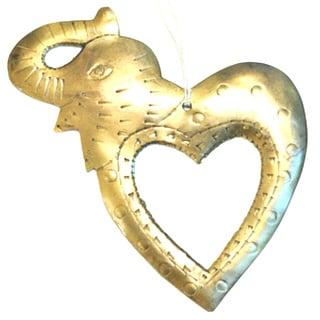 Handmade I Love Elephants Ornament (India)