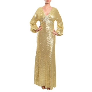 Mac Duggal Women's Gold Allover Sequins Crystal-embellished Gown (Size 0)