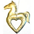 Handmade Metal I Love Horses Ornament (India)