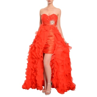 Mac Duggal Women's Red Crystal Embellished High-low Ruffled Quinceanera Dress