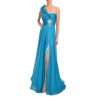 Mac Duggal Women's Peacock Blue One-shoulder Layered Ruffle Gown