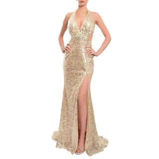 Mac Duggal Women's Silver Sequined Side Cut-out Gown