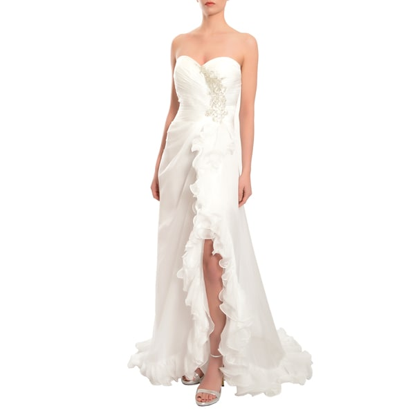 Mac Duggal Women's White Strapless Floor-length Ruffled Chiffon Gown