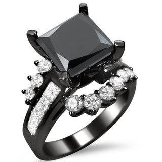 14k Black Gold 4 1/2ct TDW Black Diamond Vintage Design Ring