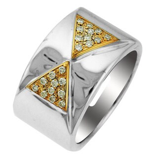 Sonia Bitton 14k Yellow Gold and Sterling Silver 1/5ct TDW Diamond Two-tone Designer Ring (H-I, SI1-SI2)