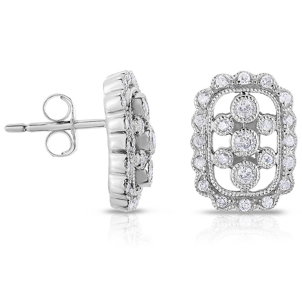 Overstock.com Eloquence 14k Black Plated Gold 1/3ct TDW Diamond Stud Earrings at Sears.com