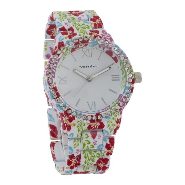 Vernier Women's 'Soft Touch' Floral Pattern Stone Bezel Watch