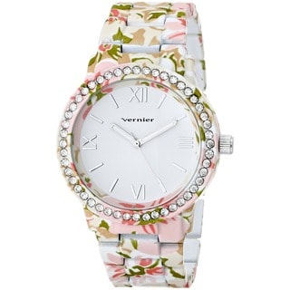 Vernier Women's 'Soft Touch' All Over Floral Stone Bezel Watch
