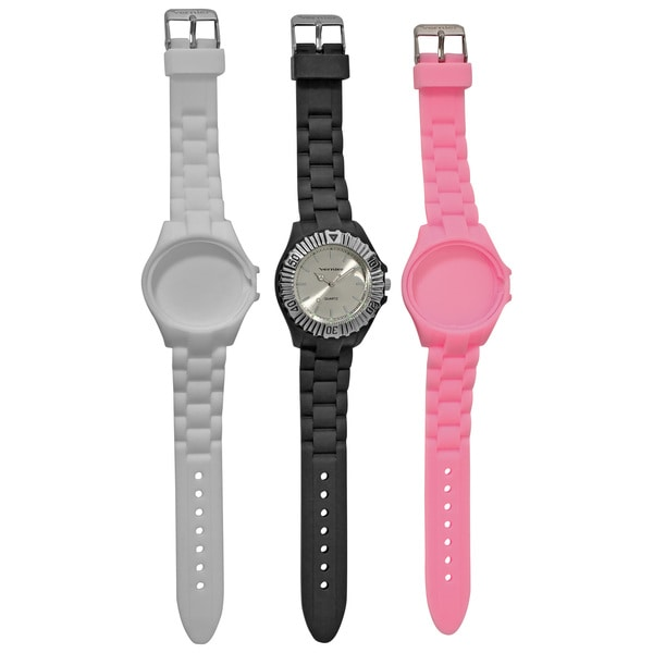 Vernier Women's Quartz Interchangeable Silicone Strap Watch