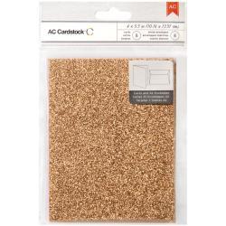 American Crafts A2 Cards & Envelopes (4.375 X5.75 ) 8/Pkg - Carrot Glitter