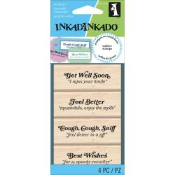 Inkadinkado Mounted Rubber Stamp Set 4/Pkg 2.5 X4 - Get Well Soon