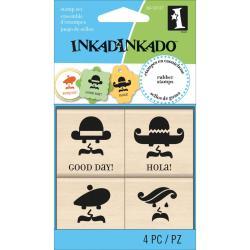 Inkadinkado Mounted Rubber Stamp Set 4/Pkg 3 X3 - Hello