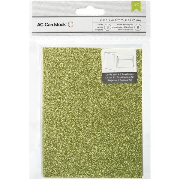 American Crafts A2 Cards & Envelopes (4.375 X5.75 ) 8/Pkg - Key Lime Glitter