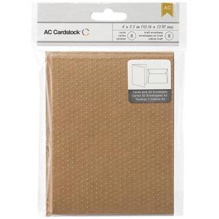 American Crafts A2 Cards & Envelopes (4.375 X5.75 ) 8/Pkg - Kraft Swiss Dots Embossed Design