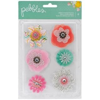 Garden Party Self-Adhesive Vellum & Paper Flowers 6/Pkg - Layered W/Gem Middles